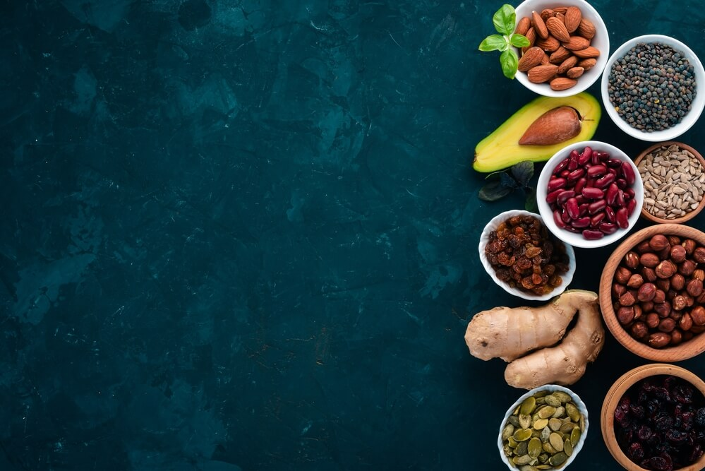 variety of superfood and supplement
